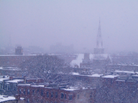Snow storm, Boston South End. (as seen from our apartment) Feb 2003