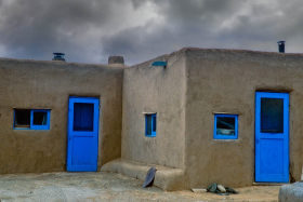 Blue doors and windows, Taos Pueblo, New Mexico