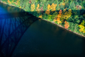 Shadow of the French King Bridge across the Connecticut River, Greenfield, MA