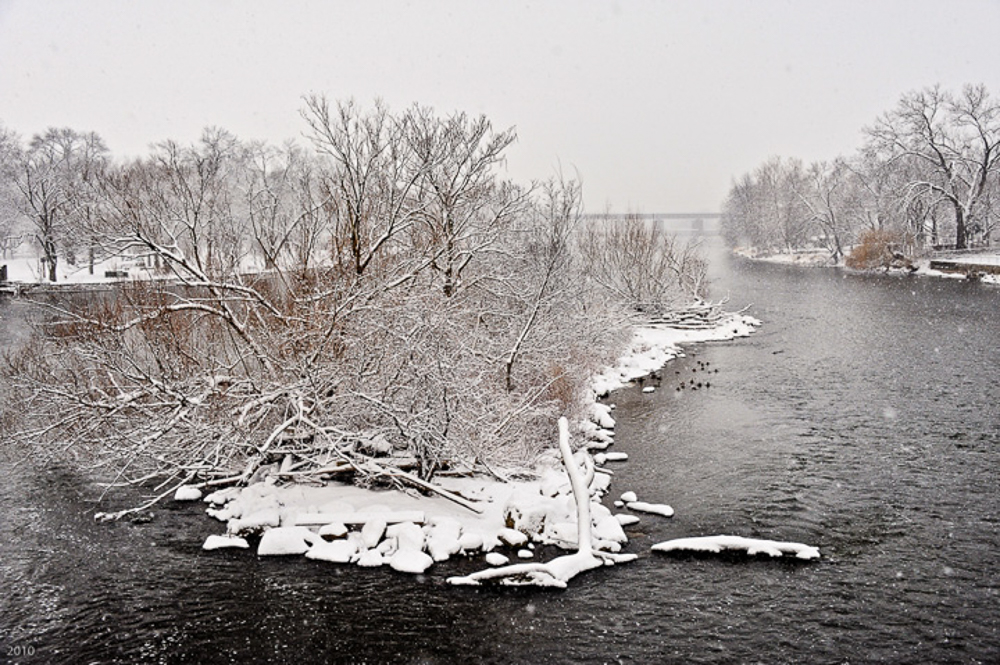 Fox RIver in snowstorm, Geneva, IL, December