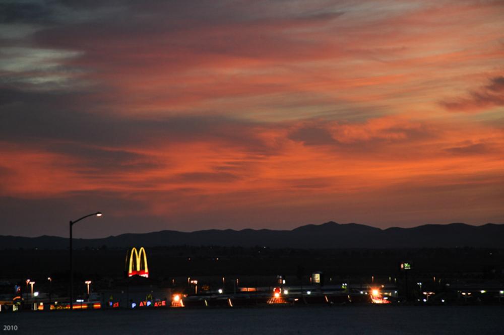 Sunset at the Barstow McDonalds, April