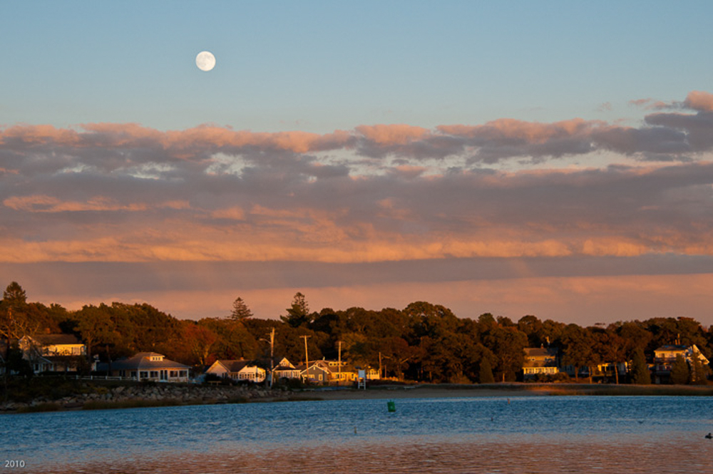 Moonrise over Parkwood, Wareham, MA, October