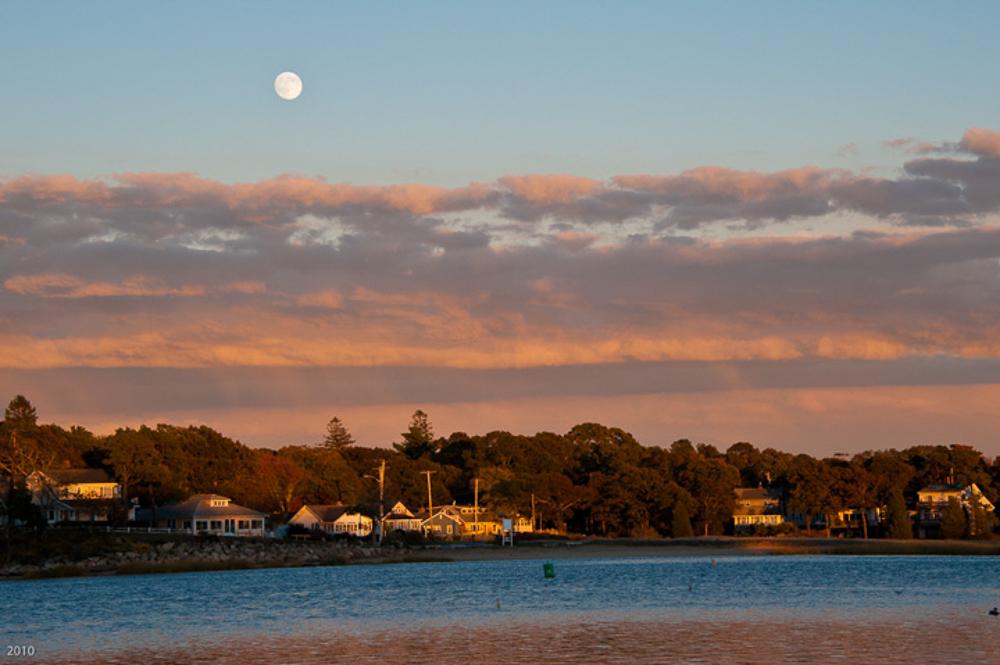 Moonrise over Parkwood, Wareham, MA, October