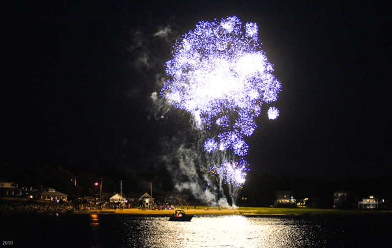 Fireworks on Parkwood Beach, Wareham, MA