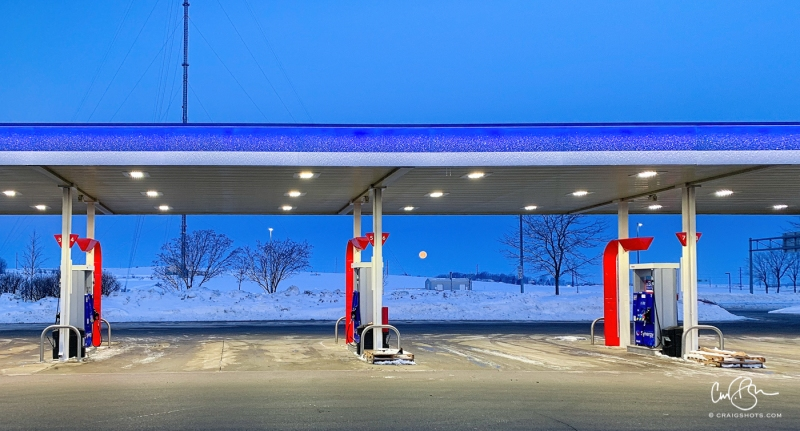 Feb 19: Moonset Behind the Mobil Station, Madison