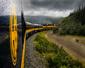The Alaska Railroad between Fairbanks and Anchorage.