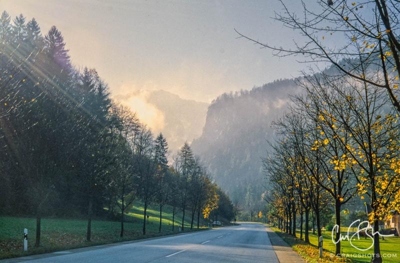 Roadside scene outside Gridnelwald, Switzerland.