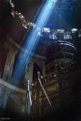 """""""God rays"""" inside the Church of the Holy Sepulchre."""