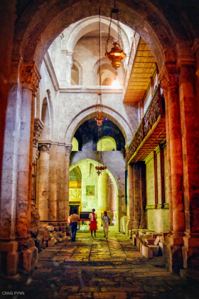Looking into the Roman Catholic section of the Chiurch of the Holy Sepulchre.