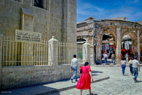 Lutheran Church of the Reddemer at the entrance of the Church of the Holy Sepulchre.